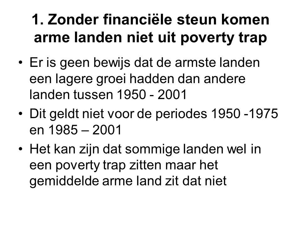 1. Zonder financiële steun komen arme landen niet uit poverty trap Er is geen bewijs dat de armste landen een lagere groei hadden dan andere landen tu