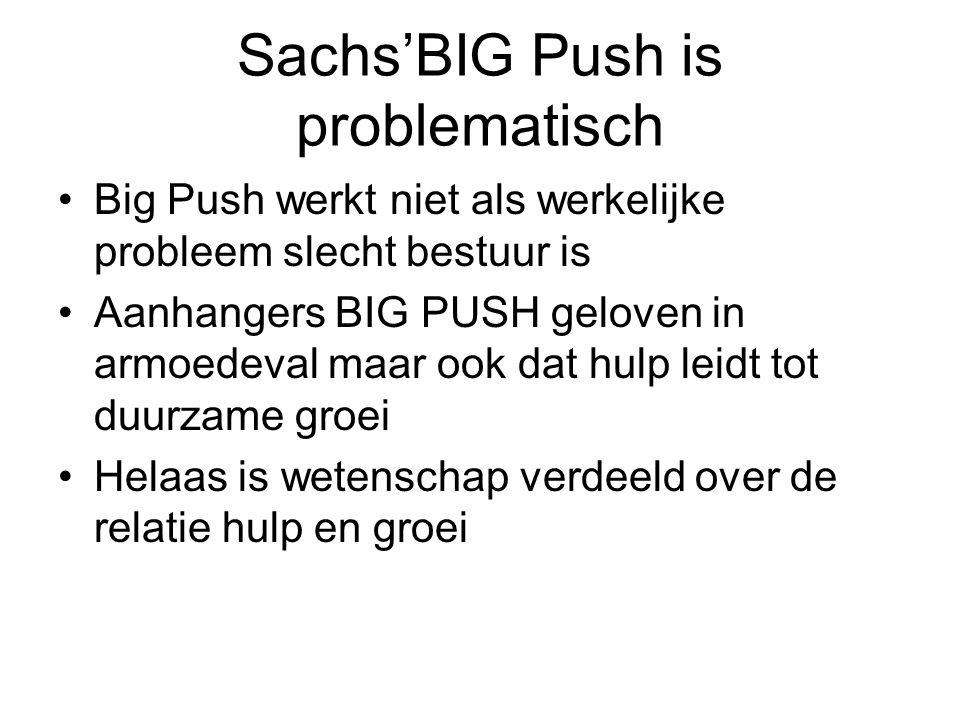 Sachs'BIG Push is problematisch Big Push werkt niet als werkelijke probleem slecht bestuur is Aanhangers BIG PUSH geloven in armoedeval maar ook dat hulp leidt tot duurzame groei Helaas is wetenschap verdeeld over de relatie hulp en groei