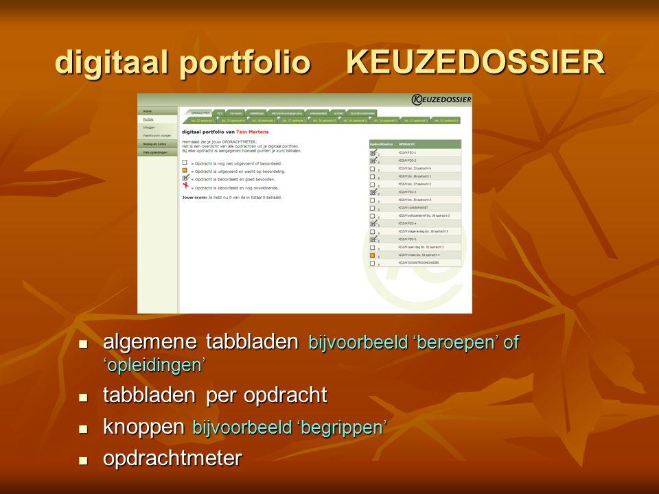 digitaal portfolio KEUZEDOSSIER algemene tabbladen bijvoorbeeld 'beroepen' of 'opleidingen' algemene tabbladen bijvoorbeeld 'beroepen' of 'opleidingen