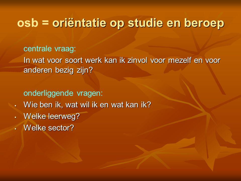 oriëntatie op studie en beroep osb = oriëntatie op studie en beroep centrale vraag: In wat voor soort werk kan ik zinvol voor mezelf en voor anderen b