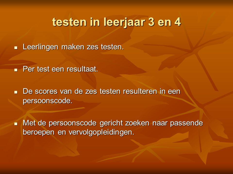testen in leerjaar 3 en 4 Leerlingen maken zes testen. Leerlingen maken zes testen. Per test een resultaat. Per test een resultaat. De scores van de z