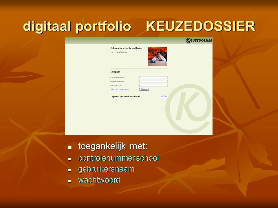 digitaal portfolio KEUZEDOSSIER toegankelijk met: toegankelijk met: controlenummer school controlenummer school gebruikersnaam gebruikersnaam wachtwoo