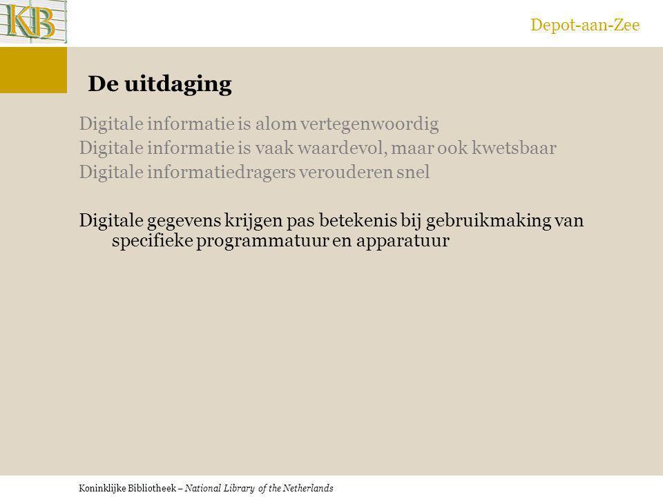 Koninklijke Bibliotheek – National Library of the Netherlands Depot-aan-Zee De uitdaging Digitale informatie is alom vertegenwoordig Digitale informat