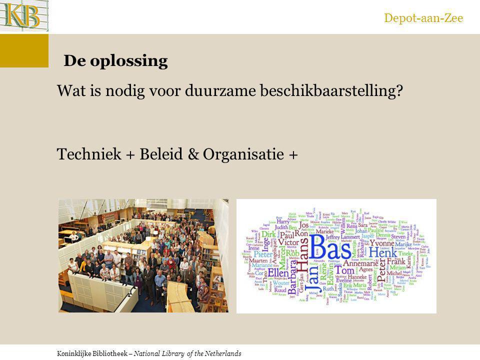 Koninklijke Bibliotheek – National Library of the Netherlands Depot-aan-Zee De oplossing Wat is nodig voor duurzame beschikbaarstelling? Techniek + Be