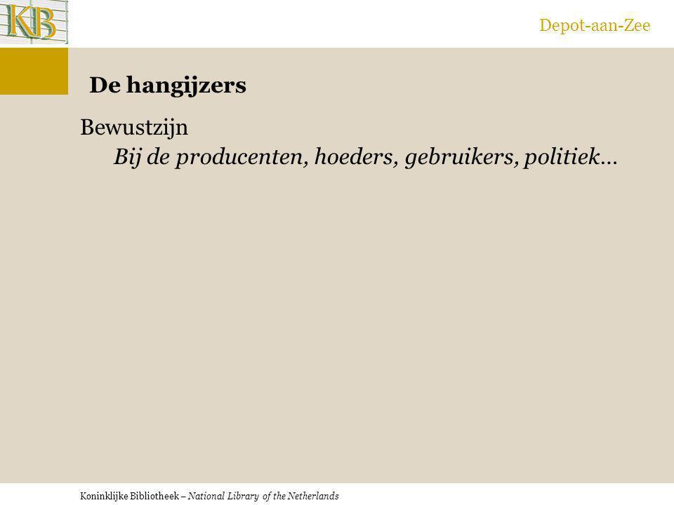Koninklijke Bibliotheek – National Library of the Netherlands Depot-aan-Zee De hangijzers Bewustzijn Bij de producenten, hoeders, gebruikers, politiek