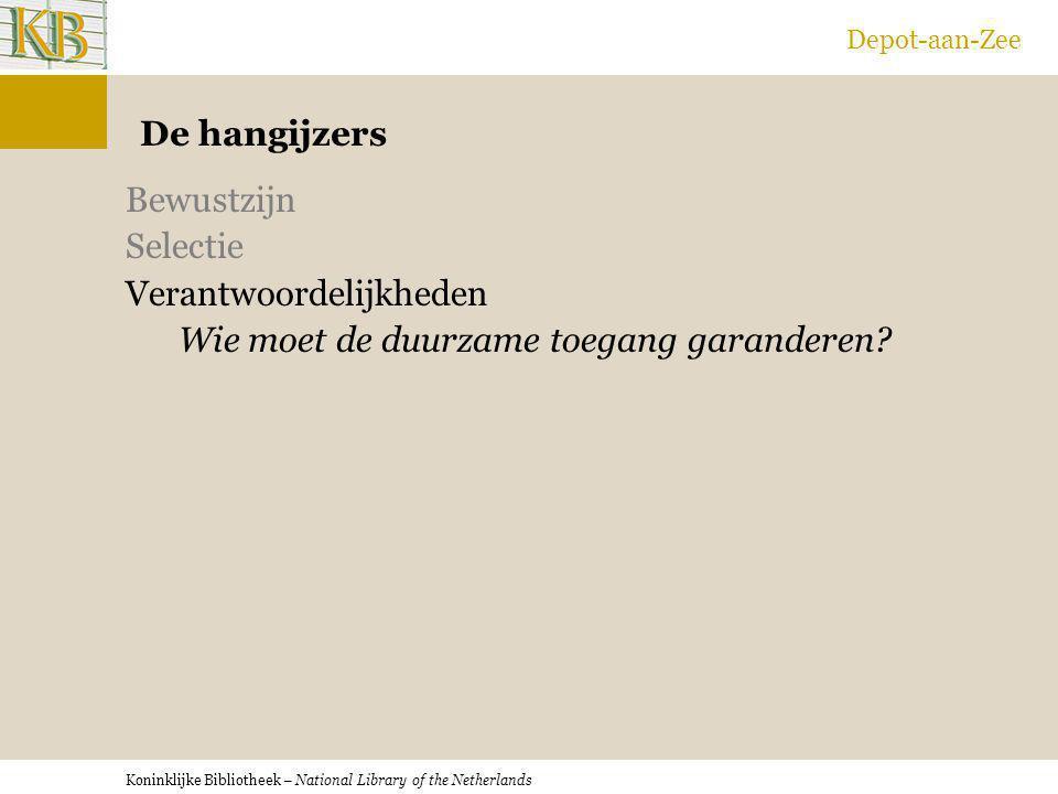 Koninklijke Bibliotheek – National Library of the Netherlands Depot-aan-Zee De hangijzers Bewustzijn Selectie Verantwoordelijkheden Wie moet de duurza