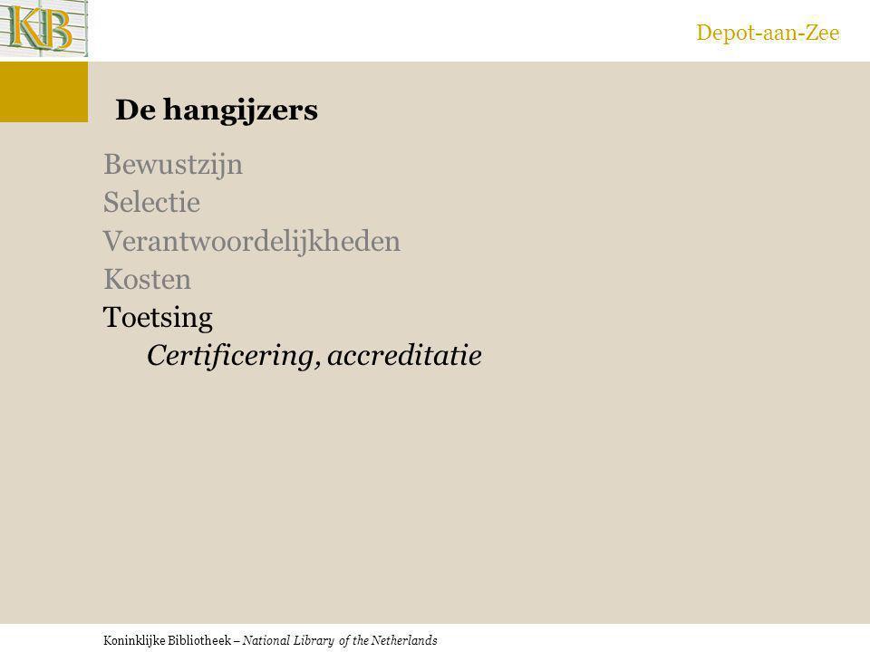 Koninklijke Bibliotheek – National Library of the Netherlands Depot-aan-Zee De hangijzers Bewustzijn Selectie Verantwoordelijkheden Kosten Toetsing Ce