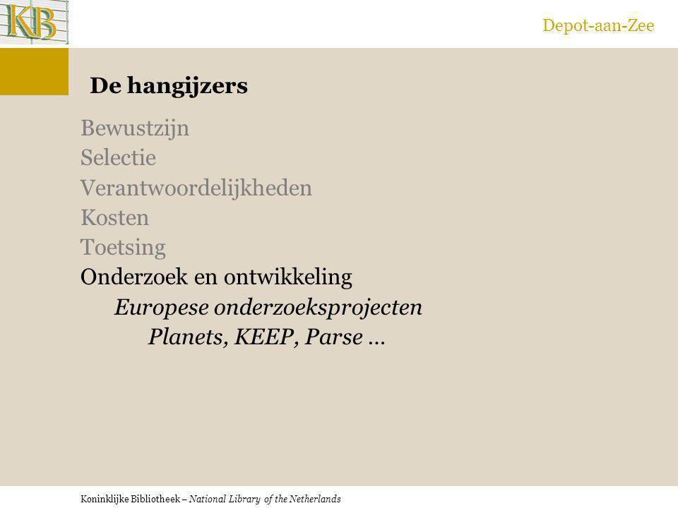 Koninklijke Bibliotheek – National Library of the Netherlands Depot-aan-Zee De hangijzers Bewustzijn Selectie Verantwoordelijkheden Kosten Toetsing On