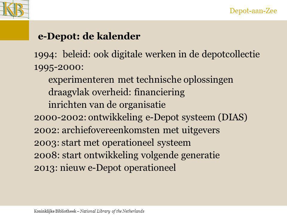 Koninklijke Bibliotheek – National Library of the Netherlands Depot-aan-Zee e-Depot: de kalender 1994:beleid: ook digitale werken in de depotcollectie