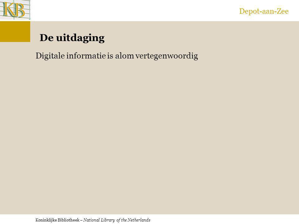 Koninklijke Bibliotheek – National Library of the Netherlands Depot-aan-Zee De uitdaging Digitale informatie is alom vertegenwoordig