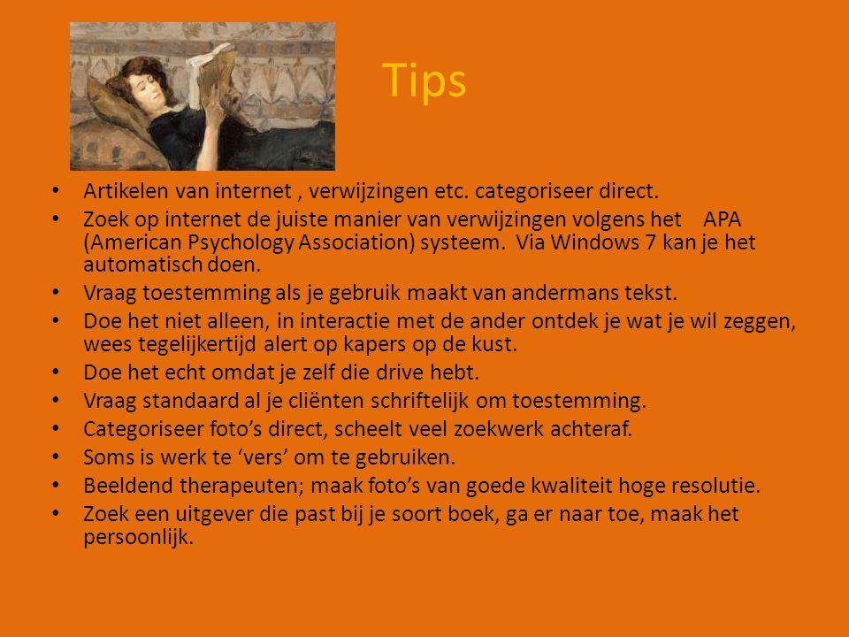 Tips Artikelen van internet, verwijzingen etc. categoriseer direct.