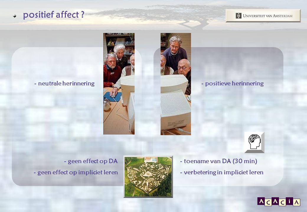 E P O S positief affect ? - positieve herinnering- neutrale herinnering - geen effect op DA - geen effect op impliciet leren - toename van DA (30 min)