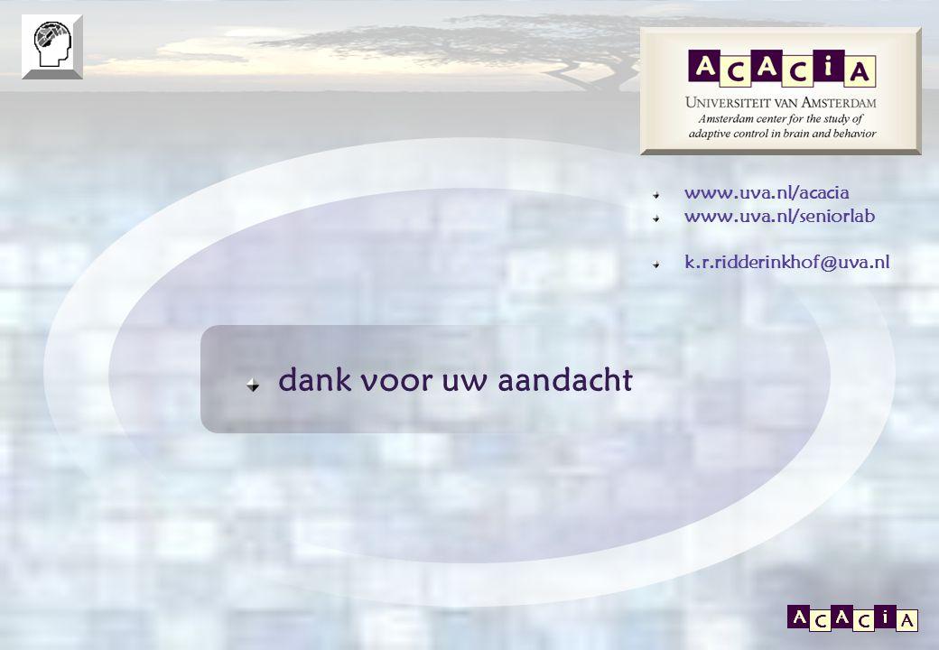 E P O S www.uva.nl/acacia www.uva.nl/seniorlab k.r.ridderinkhof@uva.nl dank voor uw aandacht