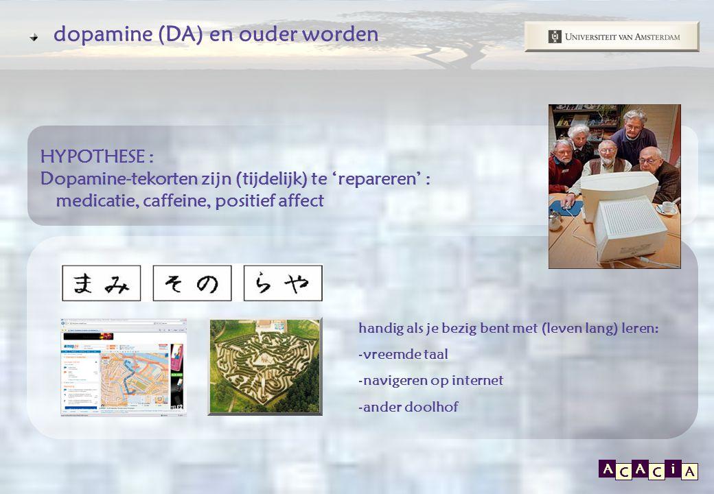 E P O S dopamine (DA) en ouder worden handig als je bezig bent met (leven lang) leren: -vreemde taal -navigeren op internet -ander doolhof HYPOTHESE : Dopamine-tekorten zijn (tijdelijk) te 'repareren' : medicatie, caffeine, positief affect