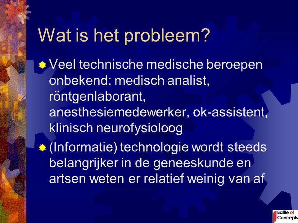 Wat is het probleem?  Veel technische medische beroepen onbekend: medisch analist, röntgenlaborant, anesthesiemedewerker, ok-assistent, klinisch neur
