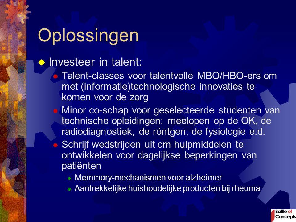 Oplossingen  Investeer in talent:  Talent-classes voor talentvolle MBO/HBO-ers om met (informatie)technologische innovaties te komen voor de zorg 