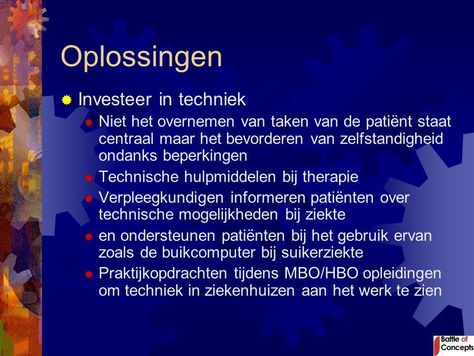 Oplossingen  Investeer in techniek  Niet het overnemen van taken van de patiënt staat centraal maar het bevorderen van zelfstandigheid ondanks beper