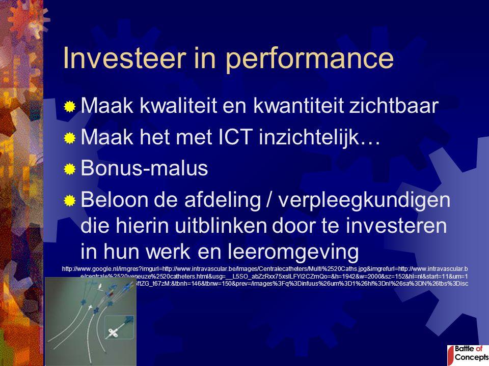 Investeer in performance  Maak kwaliteit en kwantiteit zichtbaar  Maak het met ICT inzichtelijk…  Bonus-malus  Beloon de afdeling / verpleegkundig