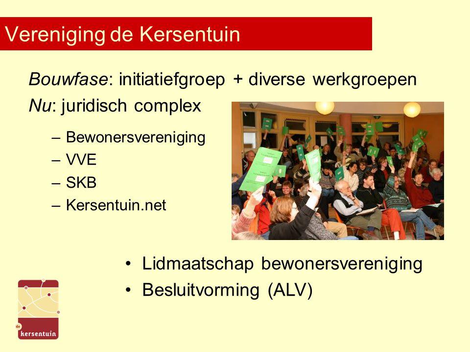 Vereniging de Kersentuin Bouwfase: initiatiefgroep + diverse werkgroepen Nu: juridisch complex –Bewonersvereniging –VVE –SKB –Kersentuin.net Lidmaatschap bewonersvereniging Besluitvorming (ALV)