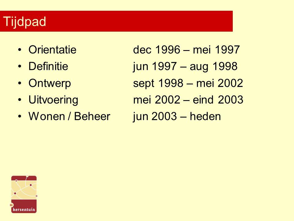 Tijdpad Orientatiedec 1996 – mei 1997 Definitiejun 1997 – aug 1998 Ontwerpsept 1998 – mei 2002 Uitvoeringmei 2002 – eind 2003 Wonen / Beheerjun 2003 –