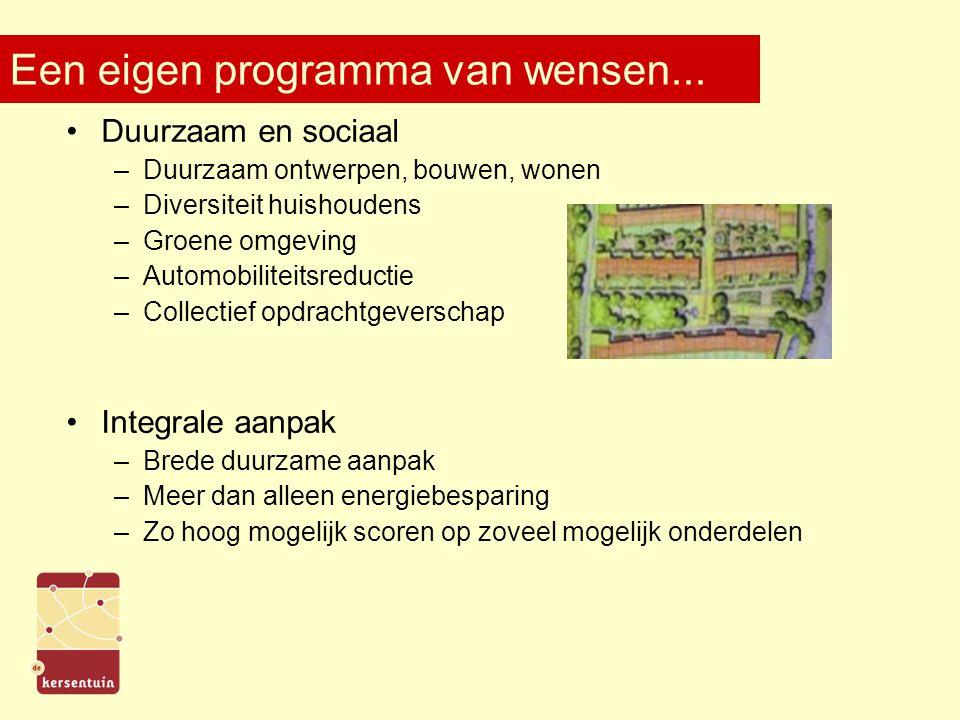 Een eigen programma van wensen... Duurzaam en sociaal –Duurzaam ontwerpen, bouwen, wonen –Diversiteit huishoudens –Groene omgeving –Automobiliteitsred