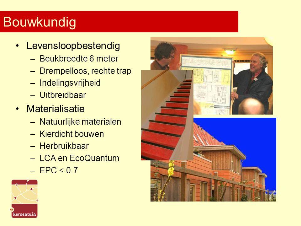 Bouwkundig Levensloopbestendig –Beukbreedte 6 meter –Drempelloos, rechte trap –Indelingsvrijheid –Uitbreidbaar Materialisatie –Natuurlijke materialen –Kierdicht bouwen –Herbruikbaar –LCA en EcoQuantum –EPC < 0.7