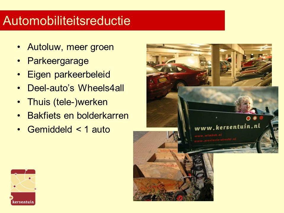 Automobiliteitsreductie Autoluw, meer groen Parkeergarage Eigen parkeerbeleid Deel-auto's Wheels4all Thuis (tele-)werken Bakfiets en bolderkarren Gemiddeld < 1 auto