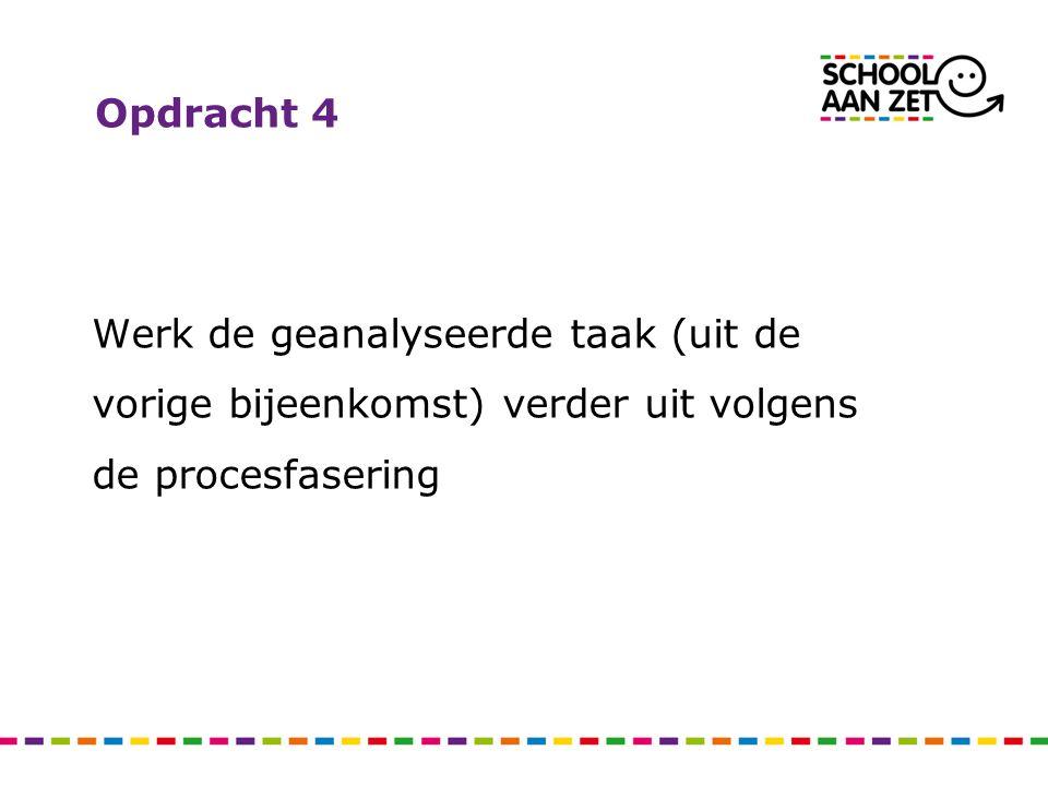 Opdracht 4 Werk de geanalyseerde taak (uit de vorige bijeenkomst) verder uit volgens de procesfasering