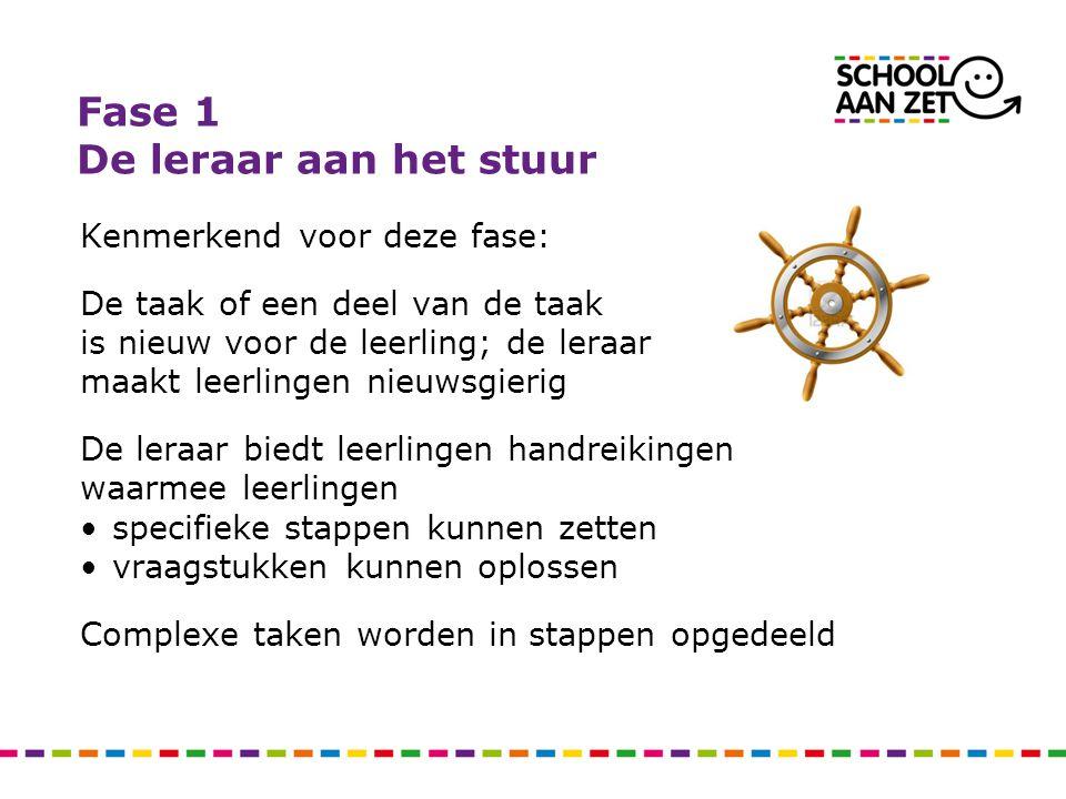 Fase 1 De leraar aan het stuur Kenmerkend voor deze fase: De taak of een deel van de taak is nieuw voor de leerling; de leraar maakt leerlingen nieuws