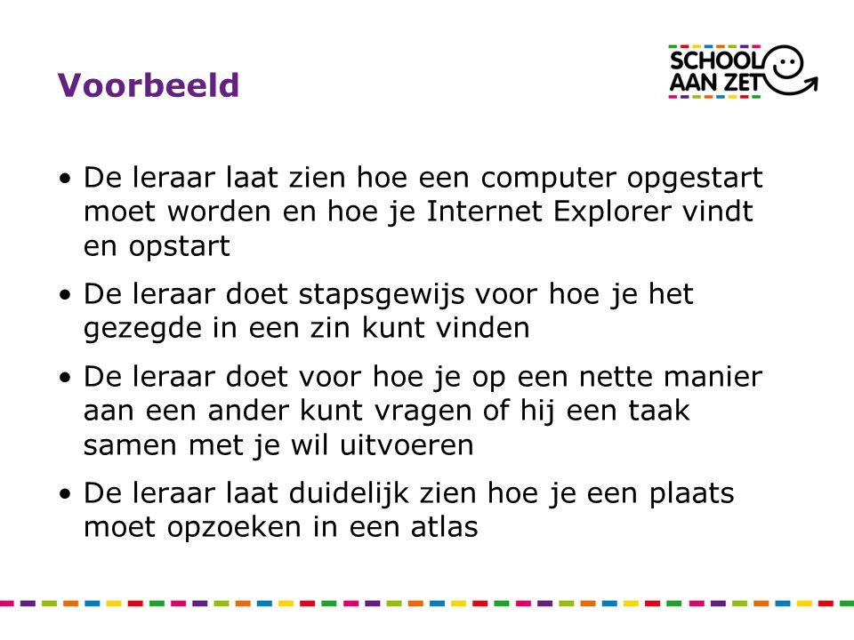 Voorbeeld De leraar laat zien hoe een computer opgestart moet worden en hoe je Internet Explorer vindt en opstart De leraar doet stapsgewijs voor hoe