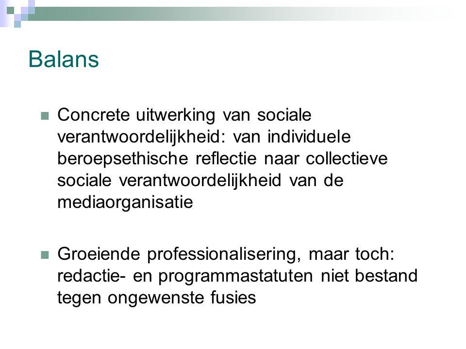 Balans Concrete uitwerking van sociale verantwoordelijkheid: van individuele beroepsethische reflectie naar collectieve sociale verantwoordelijkheid van de mediaorganisatie Groeiende professionalisering, maar toch: redactie- en programmastatuten niet bestand tegen ongewenste fusies