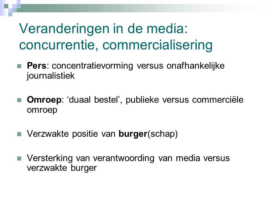 Veranderingen in de media: concurrentie, commercialisering Pers: concentratievorming versus onafhankelijke journalistiek Omroep: 'duaal bestel', publieke versus commerciële omroep Verzwakte positie van burger(schap) Versterking van verantwoording van media versus verzwakte burger