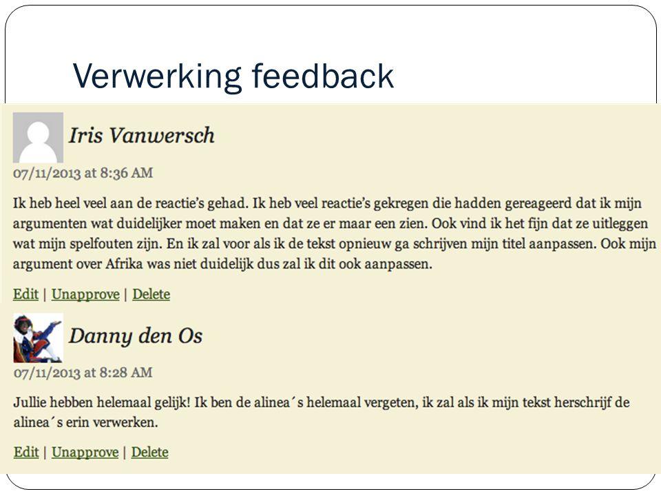 Verwerking feedback