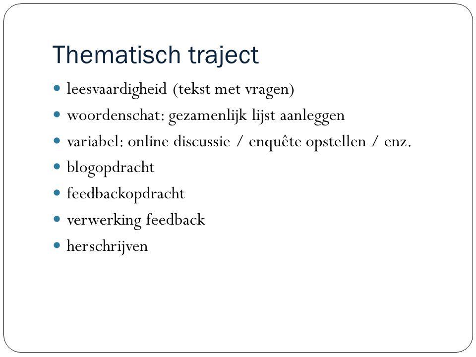 Thematisch traject leesvaardigheid (tekst met vragen) woordenschat: gezamenlijk lijst aanleggen variabel: online discussie / enquête opstellen / enz.