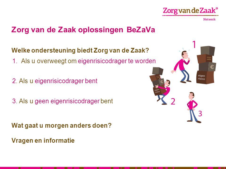 Zorg van de Zaak oplossingen BeZaVa Welke ondersteuning biedt Zorg van de Zaak? 1.Als u overweegt om eigenrisicodrager te worden 2. Als u eigenrisicod