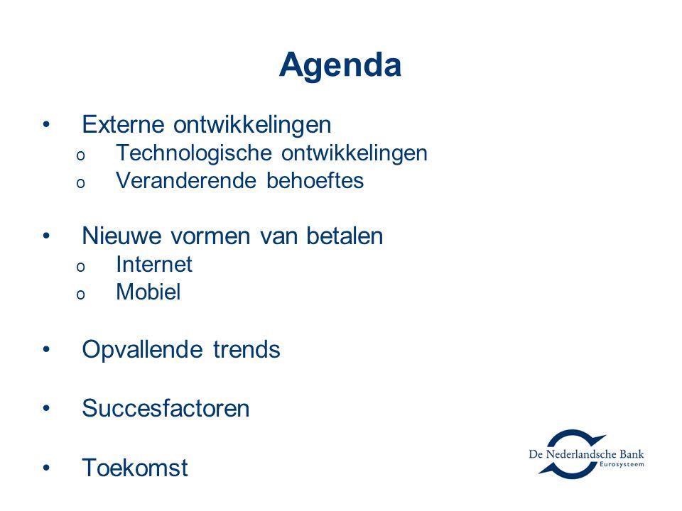 Agenda Externe ontwikkelingen o Technologische ontwikkelingen o Veranderende behoeftes Nieuwe vormen van betalen o Internet o Mobiel Opvallende trends Succesfactoren Toekomst