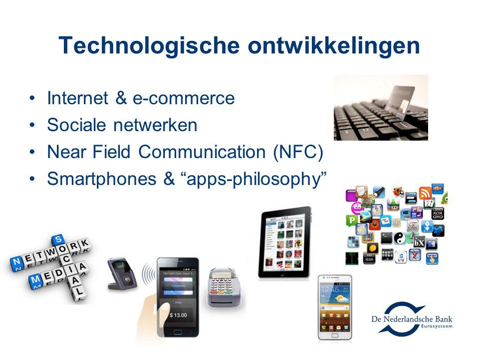Technologische ontwikkelingen Internet & e-commerce Sociale netwerken Near Field Communication (NFC) Smartphones & apps-philosophy