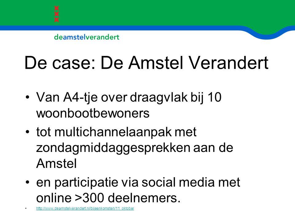 De case: De Amstel Verandert Van A4-tje over draagvlak bij 10 woonbootbewoners tot multichannelaanpak met zondagmiddaggesprekken aan de Amstel en part