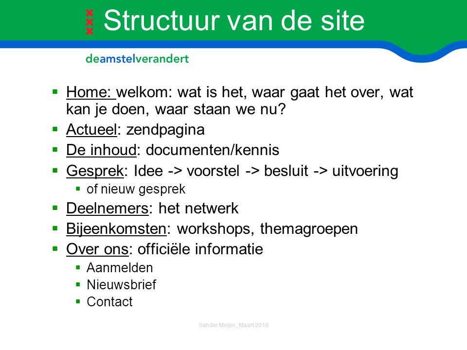 Structuur van de site  Home: welkom: wat is het, waar gaat het over, wat kan je doen, waar staan we nu?  Actueel: zendpagina  De inhoud: documenten