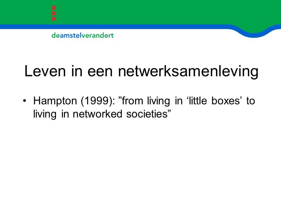 """Leven in een netwerksamenleving Hampton (1999): """"from living in 'little boxes' to living in networked societies"""""""