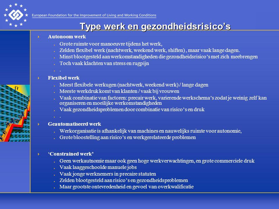 Type werk en gezondheidsrisico's  Autonoom werk Grote ruimte voor manoeuvre tijdens het werk, Zelden flexibel werk (nachtwerk, weekend werk, shiften), maar vaak lange dagen.