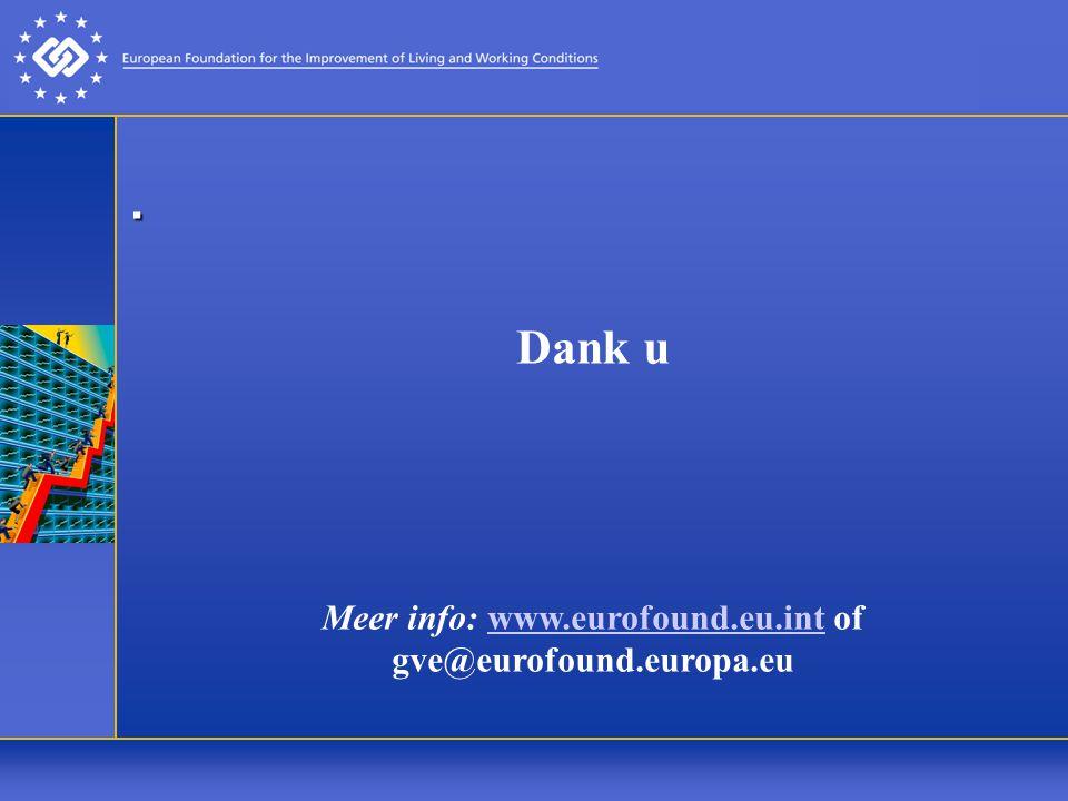 . Dank u Meer info: www.eurofound.eu.int of gve@eurofound.europa.euwww.eurofound.eu.int