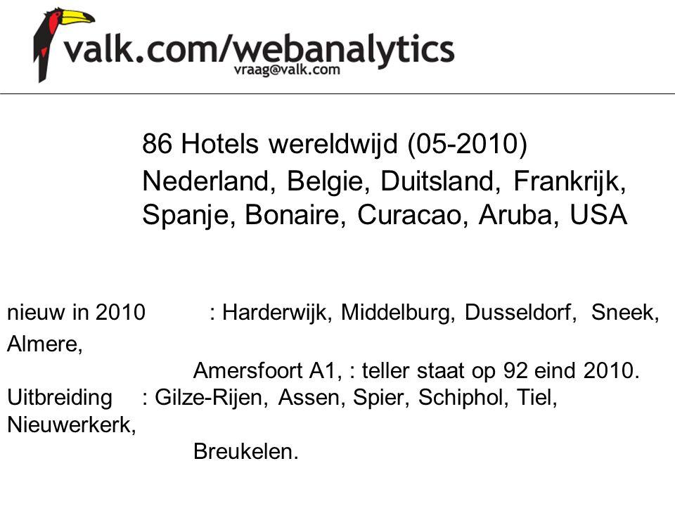 86 Hotels wereldwijd (05-2010) Nederland, Belgie, Duitsland, Frankrijk, Spanje, Bonaire, Curacao, Aruba, USA nieuw in 2010: Harderwijk, Middelburg, Du