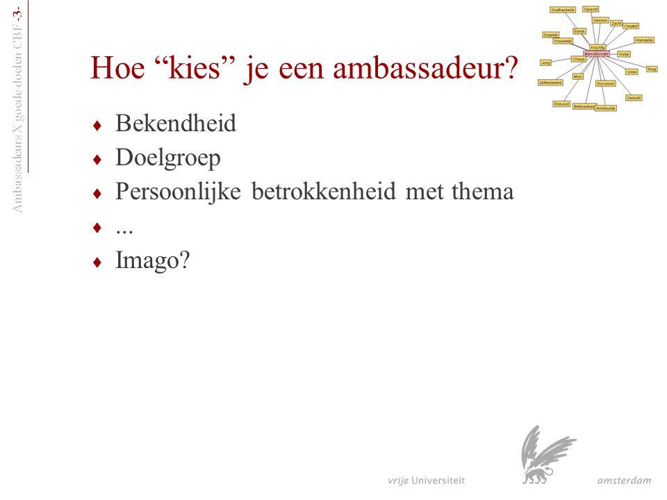 """Ambassadeurs X goede doelen CBF -3- Hoe """"kies"""" je een ambassadeur?  Bekendheid  Doelgroep  Persoonlijke betrokkenheid met thema ...  Imago?"""