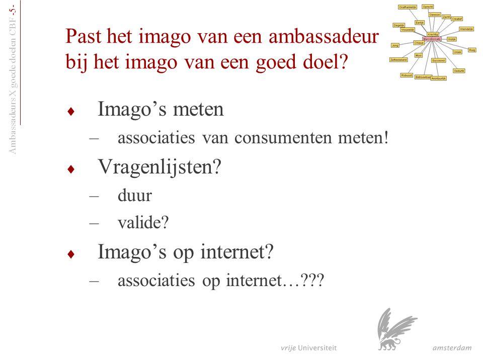 Ambassadeurs X goede doelen CBF -5- Past het imago van een ambassadeur bij het imago van een goed doel?  Imago's meten –associaties van consumenten m