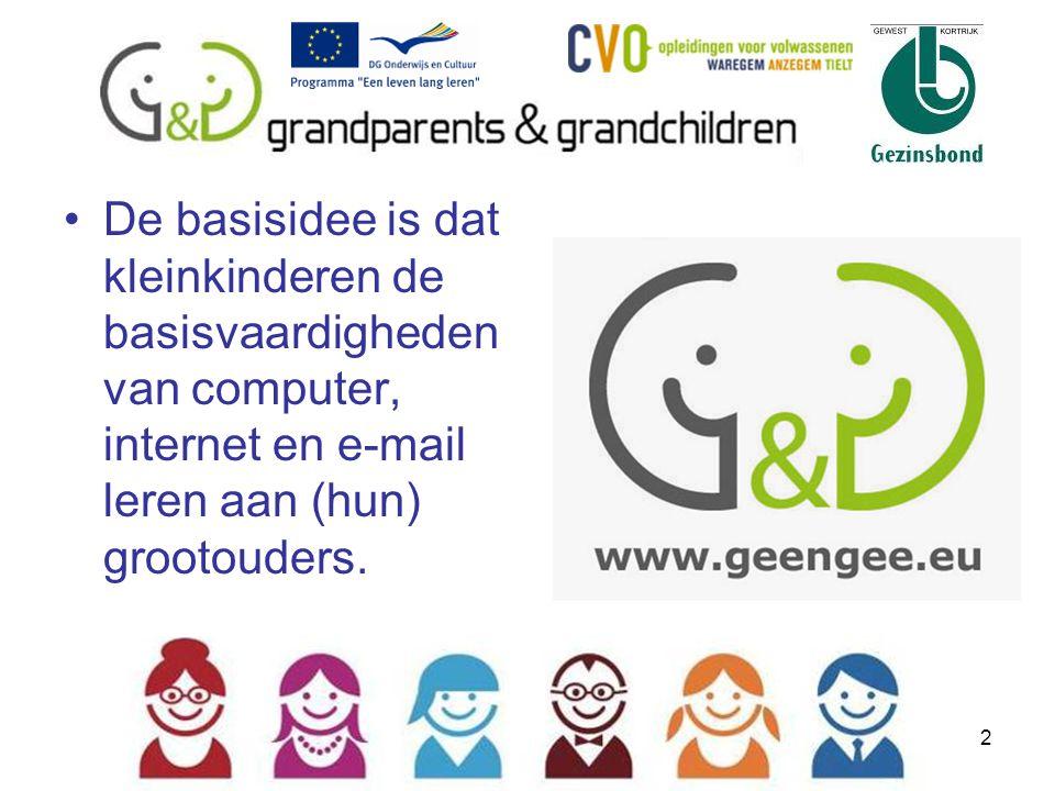 3 Het project: www.geengee.euwww.geengee.eu –Partners: Vlaanderen (Gezinsbond & CVO) - Italië - Kroatië - Litouwen - Portugal –Projectidee: digitaal analfabetisme - intergenerationeel –Uitwerking: 1 voorbereidende sessie kleinkinderen 3 gratis trainingssessies –Men kan nadien zelfstandig blijven oefenen via de G&G website rubriek Internettraining