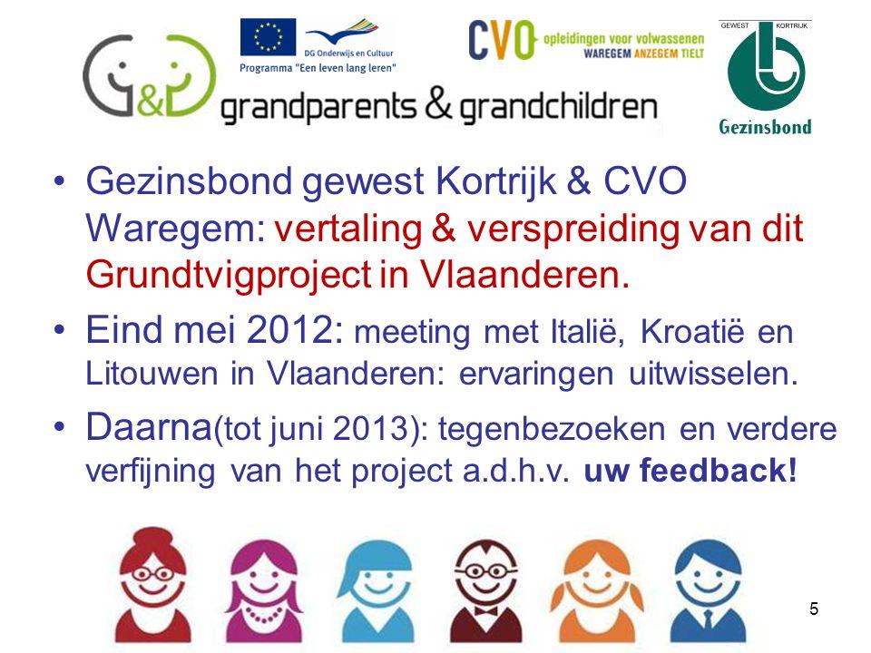 Gezinsbond gewest Kortrijk & CVO Waregem: vertaling & verspreiding van dit Grundtvigproject in Vlaanderen.