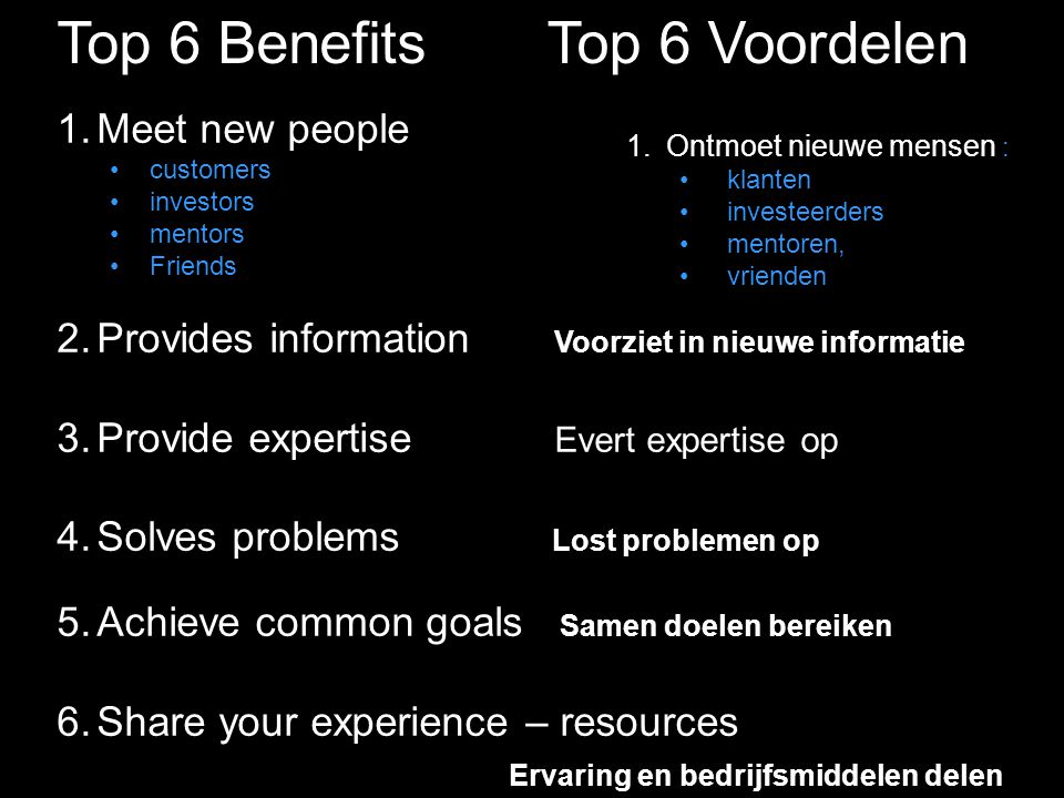 Top 6 Benefits 1.Meet new people customers investors mentors Friends 2.Provides information Voorziet in nieuwe informatie 3.Provide expertise Evert expertise op 4.Solves problems Lost problemen op 5.Achieve common goals Samen doelen bereiken 6.Share your experience – resources Ervaring en bedrijfsmiddelen delen 1.Ontmoet nieuwe mensen : klanten investeerders mentoren, vrienden Top 6 Voordelen