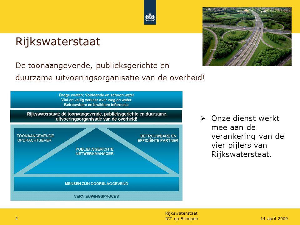Rijkswaterstaat ICT op Schepen214 april 20092 Rijkswaterstaat De toonaangevende, publieksgerichte en duurzame uitvoeringsorganisatie van de overheid!