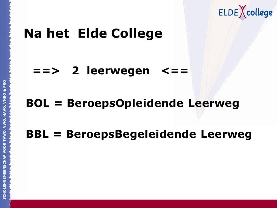 Na het Elde College ==> 2 leerwegen <== BOL = BeroepsOpleidende Leerweg BBL = BeroepsBegeleidende Leerweg
